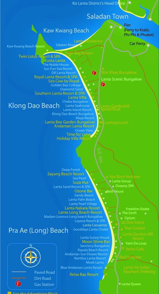 map of klong dao and pra ae beach of ko lanta